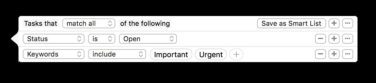 Filter tasks